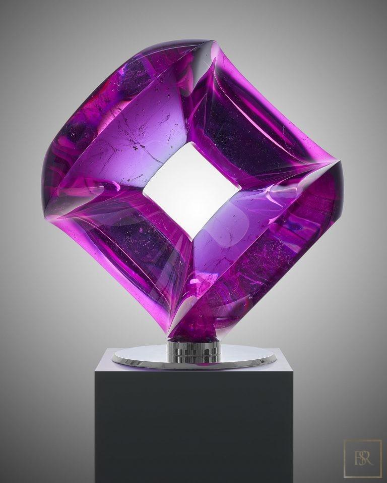 Art Sculpture AQUA-TWO CHAMELEON - Bohemian Crystal Czechia for sale For Super Rich