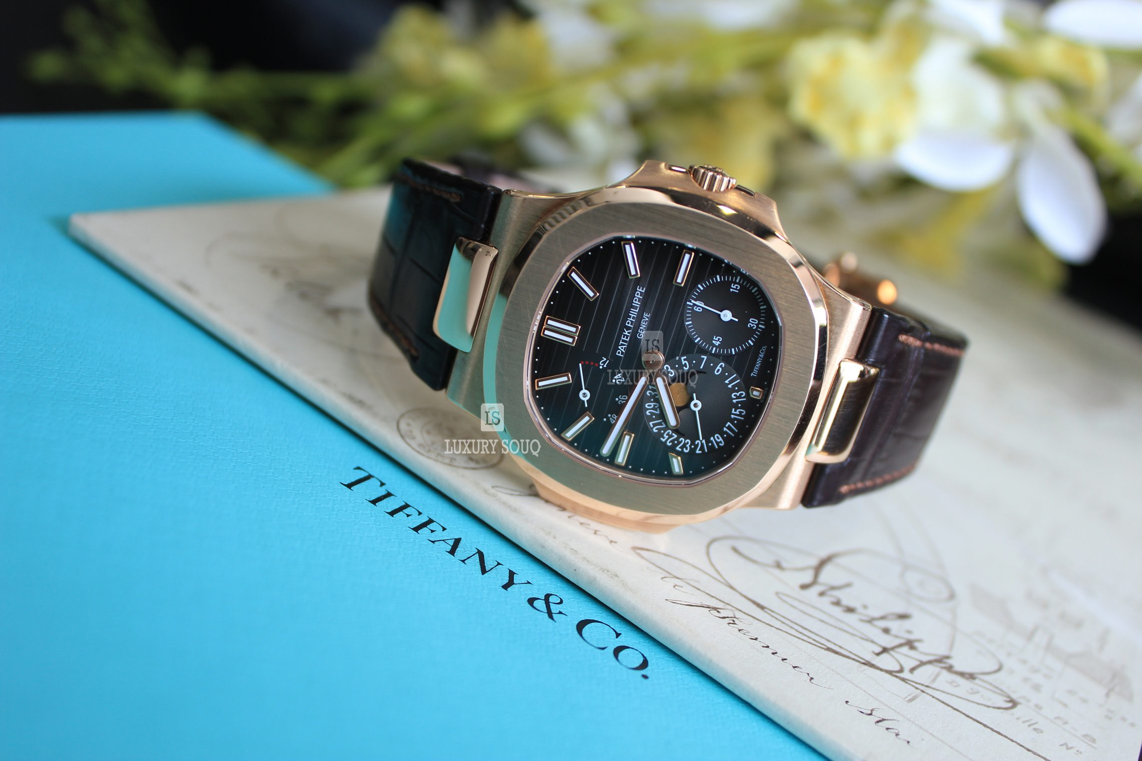 Watch PATEK PHILIPPE Nautilus Moonphase 18k RG Tiffany & CO. for sale For Super Rich