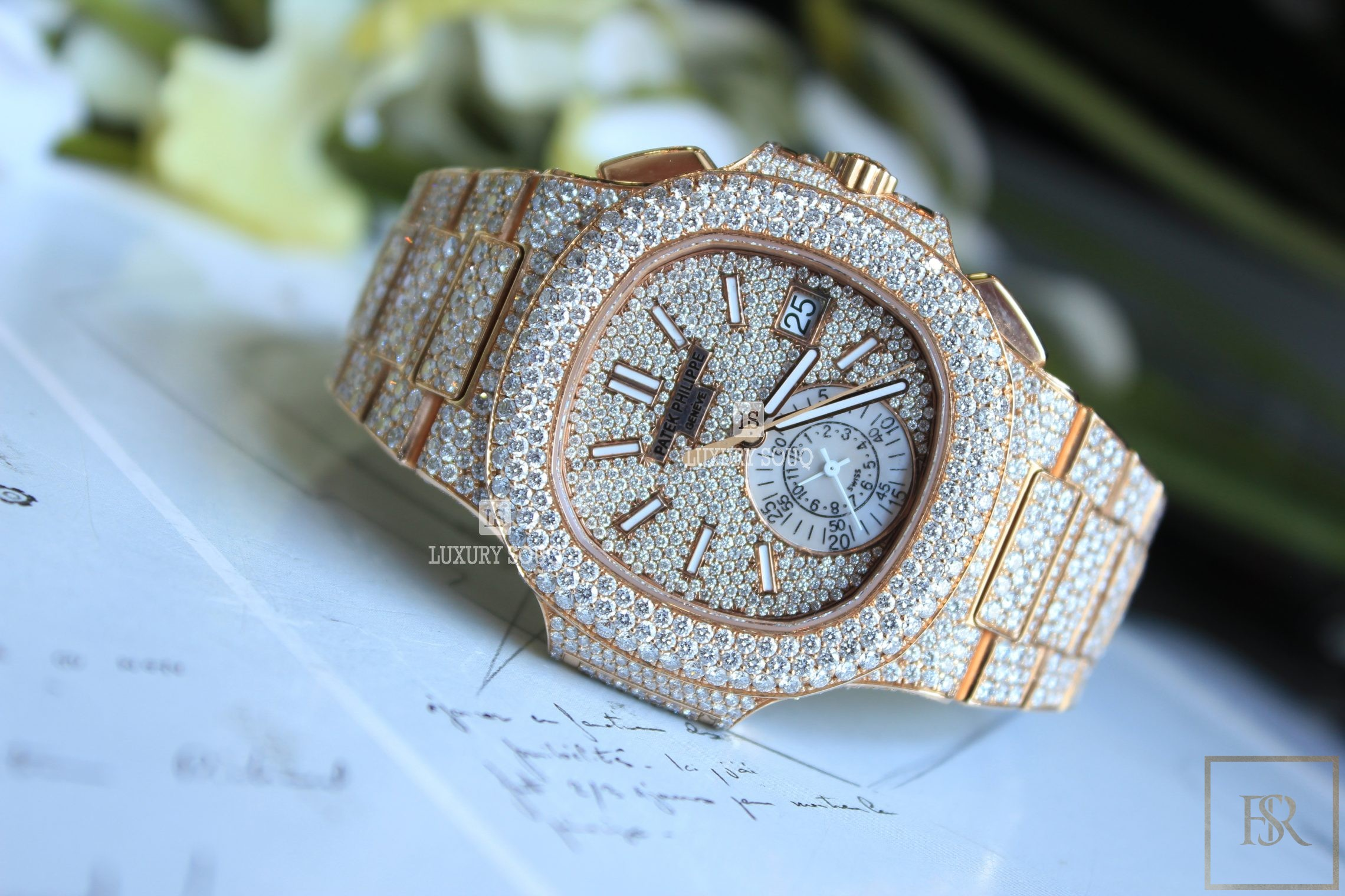 Watch PATEK PHILIPPE Nautilus Chronograph Date Diamond Pave Set  for sale For Super Rich
