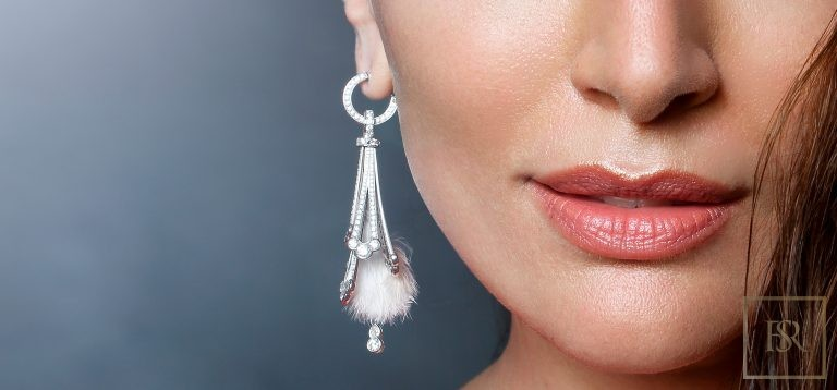 Feather-Earrings White Gold & 680 Diamonds - GIBERG 78000 for sale For Super Rich
