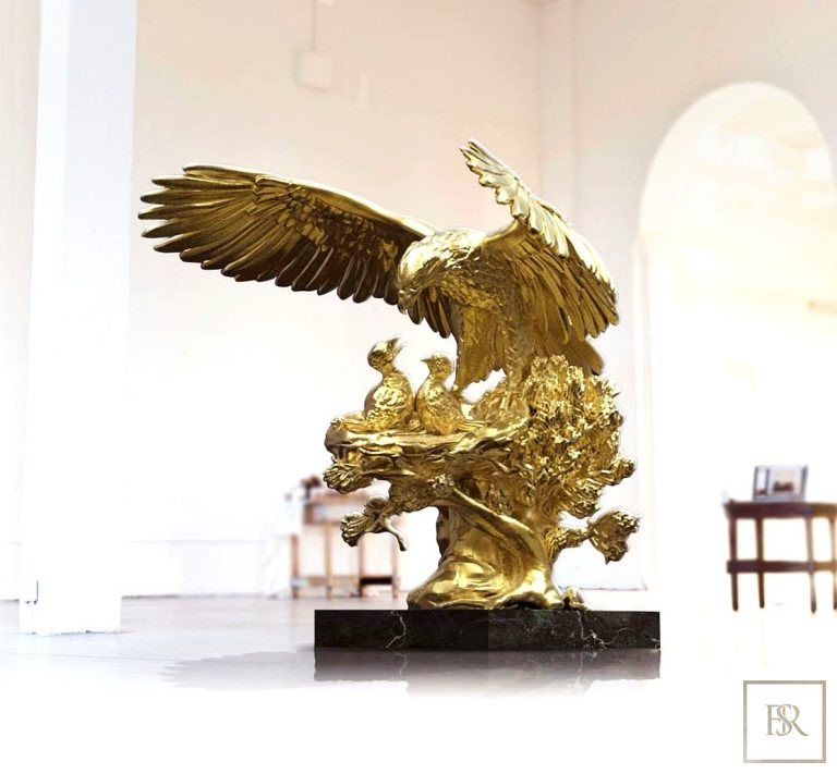 Golden Eagle Nest Sculpture ANATOLIOS Unique for sale For Super Rich