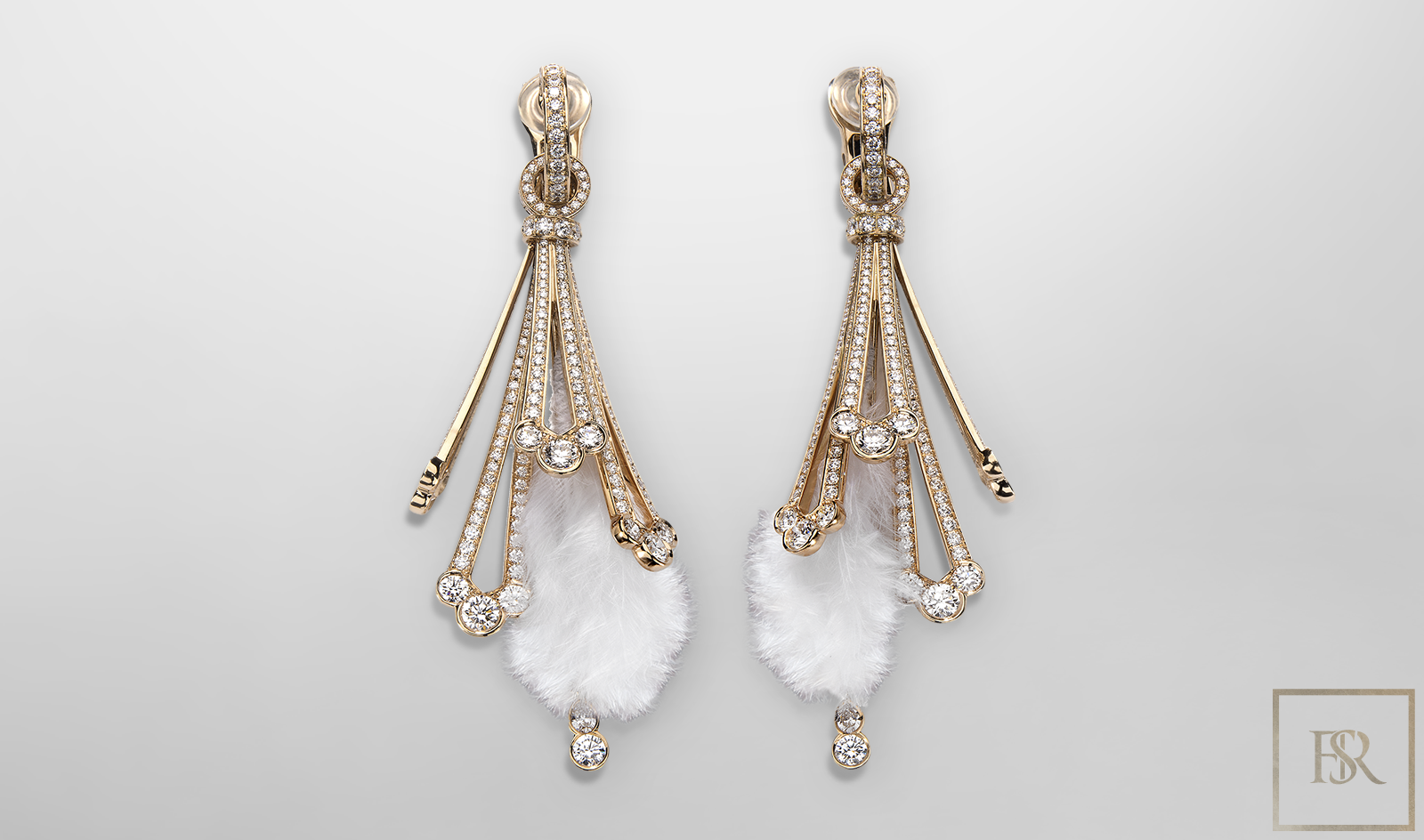 Feather-Earrings Rose Gold & 680 Diamonds - GIBERG for sale For Super Rich