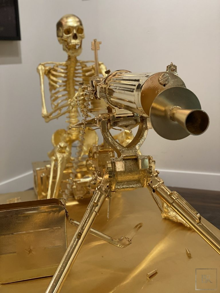 Sculpture Skeleton 24 carat gold