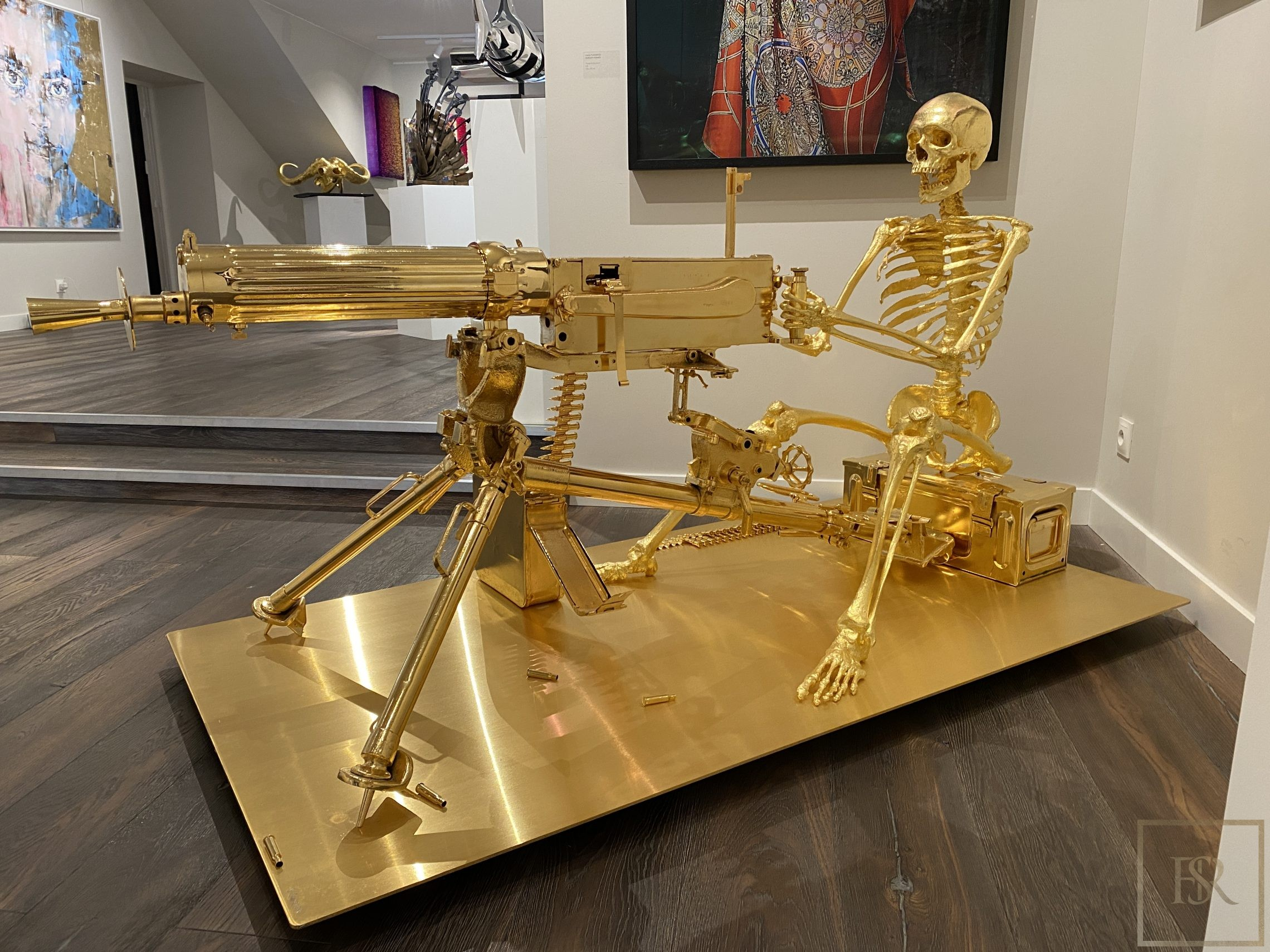 "Sculpture Skeleton 24 carat gold ""The Beautiful Art of War""- Stephen Cawston for sale For Super Rich"