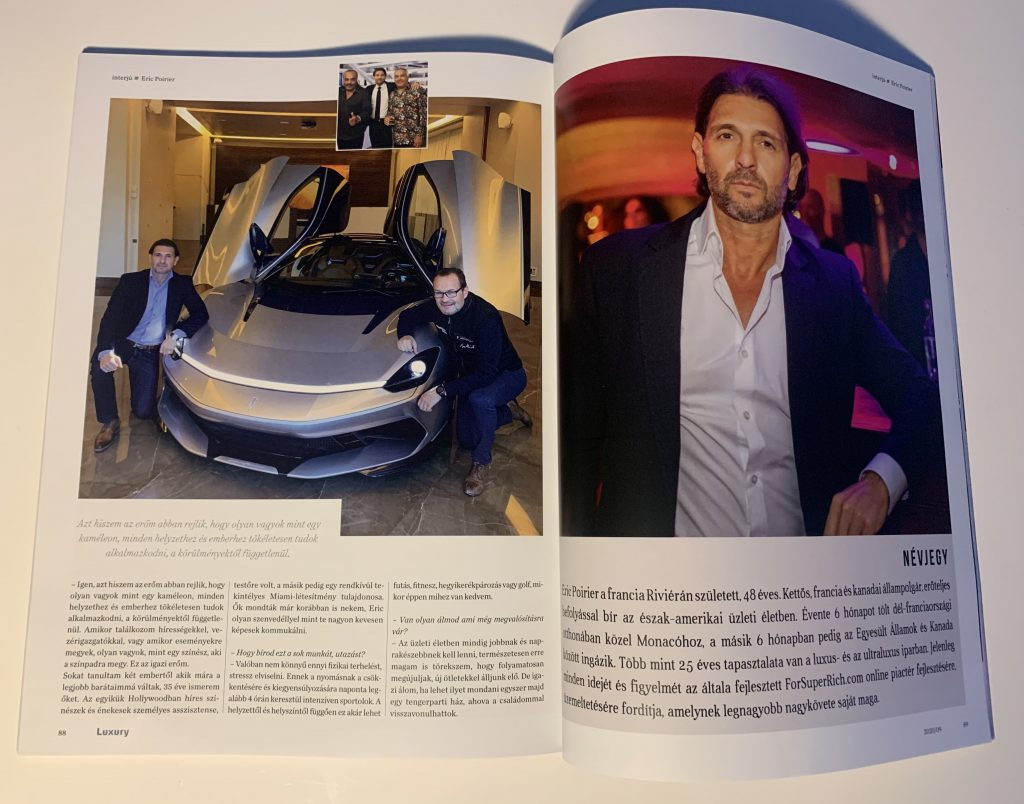 Eric Poirier with CEO PIninfarina Automobili in Monaco ForSuperRich.com .First Interview September 2020 for the N1 Luxury magazine in Hungary Luxury-Magazin.hu