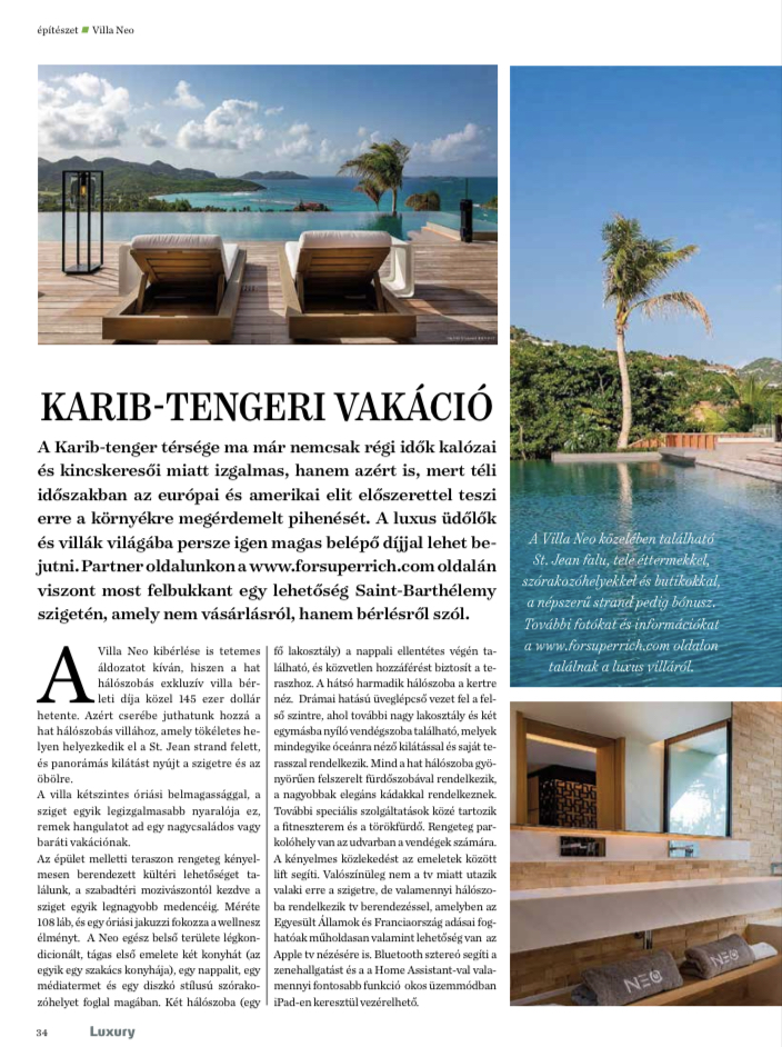 """February 2021 - Publication ForSuperRich.com """"Rental Villa NEO"""" with our partner media Luxury Magazin Hungary"""