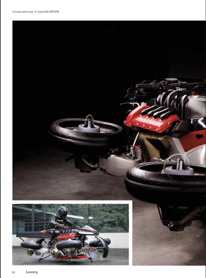 "November 2020 - Publication ForSuperRich.com ""Flying Motorcycle LMV496 Lazareth"" with our partner media Luxury Magazine Hungary"