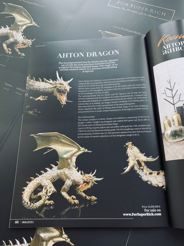 DOLCEVITA Magazine Russia Advertising AHTON Dragon for sale by ForSuperRich.com