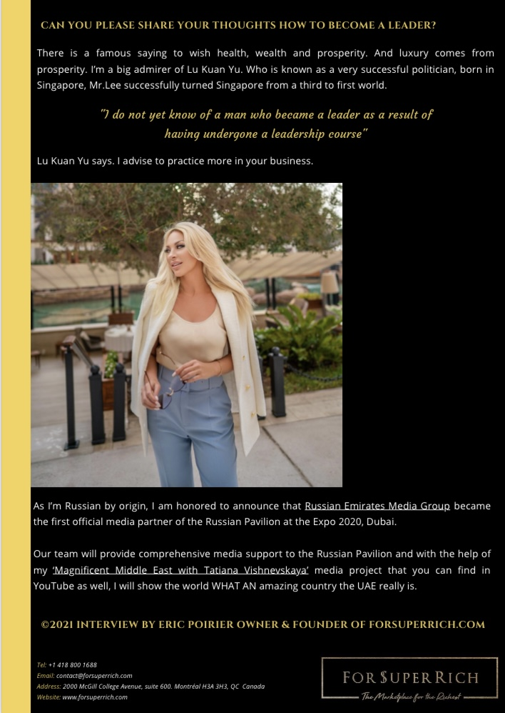 Exclusive Interview with Tatiana Vishnevskaya by Eric Poirier owner & founder of ForSuperRich.com